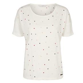 Sød t-shirt med farvede prikker syet på. Grundfarven er knækket hvid