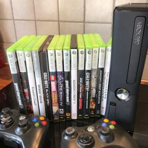 Xbox 360 med mange spil. Virker som den skal, sælges kun da mine børn nu spiller PS