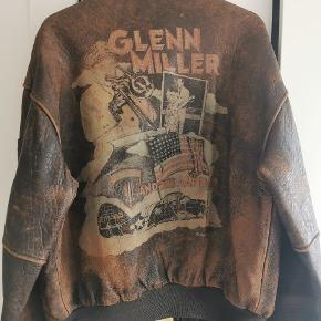 Rare vintage GLENN MILLER leather A-2 AVIREX US pilot bomber flight jacket. 1978.