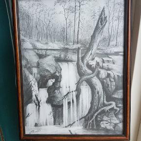 Smuk og detaljeret håndtegnet skitse i træramme, ca A3 format. Motiv med vandfald i skov. Skitsetegning signeret i venstre hjørne.