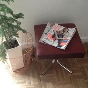 Fed læder skammel - Retro God stand 😍  Retro - vintage - genbrug