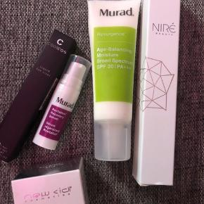 Nye produkter   Murad Age Balancing Moisture SPF 30 NP 450 MP 200,- Murad Revitalixir Recovery Serum 5ml MP 80,- Niré Beauty Børste nr. 139 Glow-and-go kabuki 50,- Coolcos eyeliner NP 59 MP 25 New Cid i-shine Super Shiny Lip Gloss - Sea Breeze MP 40,-  Eller dem alle til 350,-