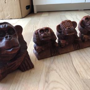 Træskårede aber fra Bali. Sælges enkeltvis eller samlet. Byd