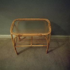Retro bambus bord med glasplade