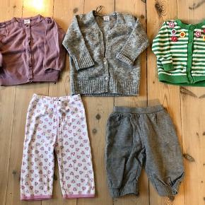 1 buksedragt (Alba baby) 3 heldragter (hugin&Mugin, Molo, Joha)  1 par strømpebukser 2 par bukser (M&M,) 3 cardigans (lindex, H&M)