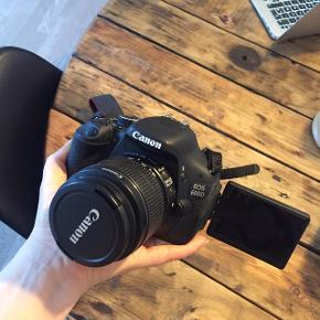 Canon, EOS 600D18 megapixel CMOS-sensor Film HD EOS Movie  I perfekt stand, da det er passet rigtig godt på. Skærmen kan vippes og drejes og uden nogen form for ridser.   Sælges med lader, standard objektiv og kamerataske   Købt til 5.819 Kvittering haves