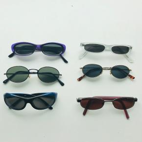Hurtige solbriller, 75 pr stk. Skriv, hvis du er interesseret i en af dem og vil høre mere.  De midterste til venstre er solgt
