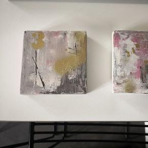 Små søde malerier på 10x10 cm. Laves også på bestilling med dit ønske til farver og måske tekst eller årstal og også anden størrelse. Pris er for begge og porto med DAO 40kr