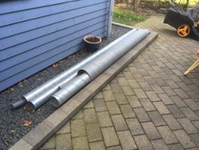 Spirorør 2 stk på100mm 3 m lange -1stk på 125mm 3meter lang - 1stk på 200mm ca 2 m lang 50kr stk