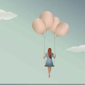 """Visse Vasse """"Balloon Dream"""" plakat 30x40cm Kan købes med ramme for 200kr"""