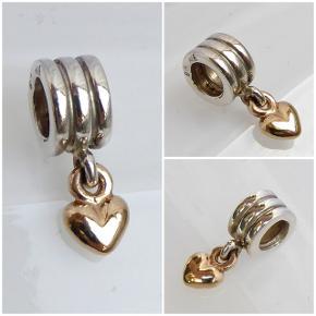 Pandora charm, nr. 790173, led / vedhæng med massivt 14 karat guldhjerte. Oprindelig købspris: 875 kr.  Se også mine andre annoncer med smykker 🦋