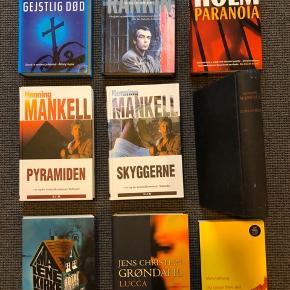 Diverse krimier 15 kr pr stk  Forfattere: Mankell, PD James, Holm, Grøndahl, Uthaug, Kirkegaard og Rankin