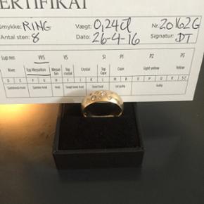 Flot robust guld ring med diamanter købt for et år siden str 58/60