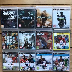 En blanding af spil til PlayStation 3 inkluderende diverse Call Of Duty, FIFA, GTA, Assassin's Creed, NBA