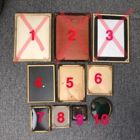 Rammer sælges:  1: SOLGT 2: SOLGT 3: SOLGT 4: 13x18,5 cm - 50kr 5: 13x18 cm - 50kr 6: 12,5x14,8 cm - 50kr 7: 9,3x12,3 cm - 30kr 8: 8,4x11,8 cm - 30kr  9: 7,3x7,3 cm - 30kr 10: Ø10,9 cm - 50kr  —————————————————————— - Sender med DAO - Betaling via Mobilpay - Ved TS handel betaler køber gebyr ——————————————————————