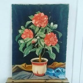 Vintage maleri sort med fineste røde blomster. Uden ramme. Patina.