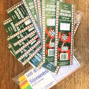 Stjernestrimler i klassisk hvid.  8 pakker med 100 stk 15 mm brede, hvide strimler 5 pakker med 100 stk 10 mm brede, hvide strimler  Nypris 50 kr. pr. pakke.  Sælges for 25 kr. pr. pakke.  Samlet for alle 13 pakker 250 kr. + evt. porto 50 kr. som forsikret pakke til pakkeshop.  Kan også afhentes på Frederiksberg.