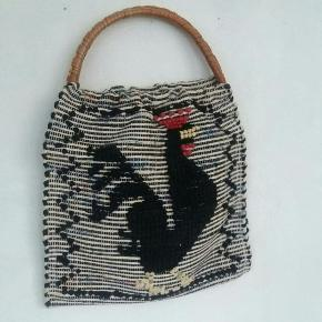 Cute retro indkøbsnet/taske M bambus håndtag. Hane motiv. 39×39 cm uden hanke