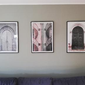 Plakater med sorte metal rammer. 300 kr prr stk.