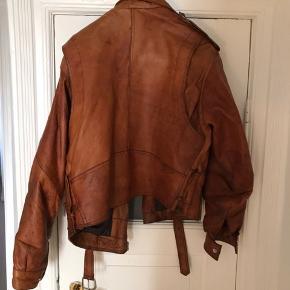 Vintage brun biker læder jakke - fitter medium