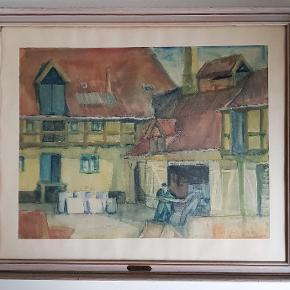 Eiler Løndal, akvarel  Charmerende skøn akvarel malerie fra det gamle århus.  Akvarelmaleriet er i trærammer, der helt matcher stil og farver. Men rammen har dog lidt aldersrelaterede. spor/patina.  Studsgade 70. 1938 Signeret b: 79 cm.  ( med rammen )           h: 65 cm.  ( med rammen )            Pris : 450 kr.