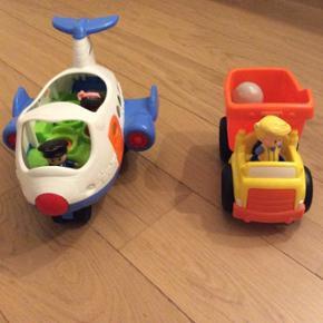 Fisher-Price flyvemaskine og arbejdsbil med lyd.