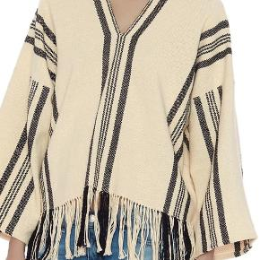 Brand: apiece apart Black and tan v neck poncho with fringes  FREE SHIPPING