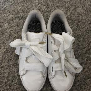 Super fine PUMA sko. Der er få mærker efter brug ellers fejler de intet. Sælger dem da de er lidt for store til mig. De ville være fine at have på til studenter tiden  Der er mulighed for at skifte snøre imellem normal snor og silke bånd 👟🤩