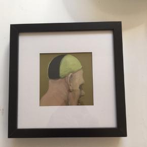 Super fedt billede af et af kviums værker. Købt på retromarked i Århus. Har en lille ubetydelig fejl i hjørnet af rammen.  Målet 25*25 cm