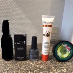 Frit valg 50,- pr stk  - Moroccanoil glimmer shine 50ml - SOLGT - CND Vinylux top coat 15ml - CND Vinylux glimmer lak 15ml - Kérastase til tørre spidser 40ml - Bodyshop spiced apple Bodybutter 50ml  - Naobay foot cream 100ml - Urtekram lavendel håndcreme 75ml - Elizabeth Arden mascara sort - Æther citrus eau de parfume 10ml SOLGT - Evolve Satin leg gloss 30ml - Dragon's blood sculpting gel 15ml - Mannakadar blush/highlighter  - Tromborg neglelak 10ml  - Biotherm Biosource Removing milk 400 ml - Karmameju Micellar Water 200 ml SOLGT - GHD heat protect spray - SOLGT - ELEVEN miracle hair treatmt 125ml SOLGT - Unani face mist spray 125 ml SOLGT  6700/Rørkjær