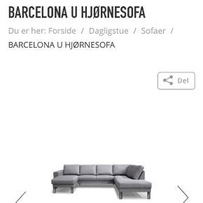 Myhome Barcelona sofa med den lange ende til højre. Købt for lidt over et år siden. Sælges grundet flytning. Nypris i butikken er 6999. Sælges for højeste bydende, men forbeholder mig retten til ikke at sælge.
