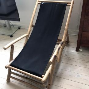 Skøn Broste Copenhagen bambus havestol, også fed indenfor! Sort canvas betræk, aldrig brugt!