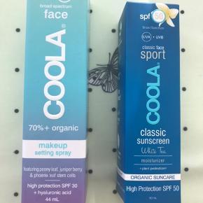 Coola - Makeup setting spray SPF 30 med grøn te pris 200,- pp  Coola - Classic sport SPF 50 med white tea  pris 150,- pp  Ved køb af begge produkter Er prisen 300,- pp  Begge produkter er kun lige åbnet og testet.   Jeg sender gerne på købers regning 40,- 8200 Aarhus N Læs mindre