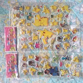 Små klister mærker med Pokemon figurer kan sidde på alt og lette at pille af igen.Koster 49 kr med ca 60 mærker eller kan hentes i Herning for 35 kr