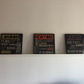Sælger disse 3 malerier samt billedehylden. Hylden er fra IKEA, husker ikke hvor malerierne er fra.  BYD