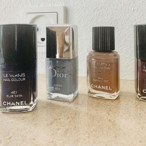 4 neglelak fra Chanel og Dior. Prisen er for alle 4. Farverne er klassiske
