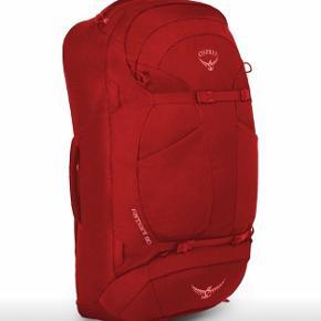Rygsæk backpacker mærke Osprey Farpoint 80 (den kan indeholde 80 L).  Nypris var 1500 kr.