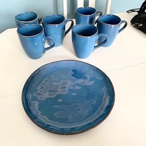 6 stk kopper og 1 fad sælges samlet, retro stil, ingen skår el. lign. Kan afhentes på Nørrebro eller sendes for købers regning.