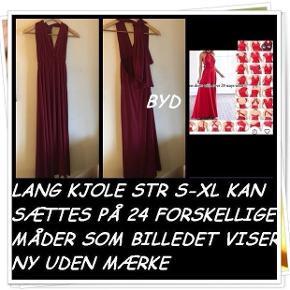 Lang kjole str s-xl kan sættes på 24 forskellige måder som billedet viser ny uden mærke byd