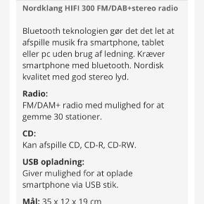 Sælger nordklang DAB radio med CD afspiller og Bluetooth i farven hvid. Aldrig brugt. Købt november 2019 over Wupti.