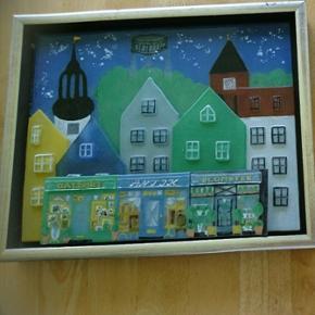 Glaskunst/billede af det gamle Aalborg . Byd gerneL 34 H 27,5