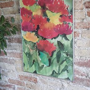 Abstrakt naturalistisk blomster maleri af akvaral maling, i dejlig varme farver.  51x71 cm. Inkl. Ramme