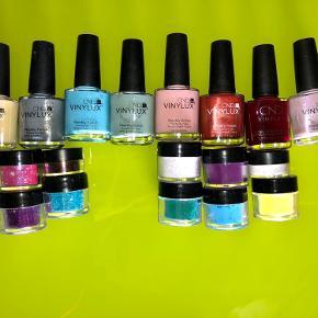 Art/pynt til negle: Noget er næsten nyt og andet er ubrugt. CND Vinylux 8stk. CND og nail diva Additives  Nail diva glitter   CND glitter mix  FRESH NAILS tip guides 8stk.