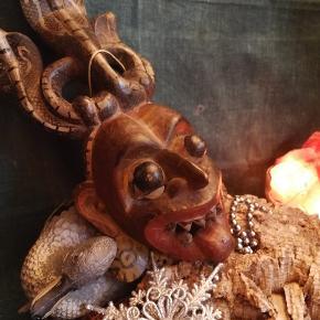 Antik østerlandsk /indisk træ Maske. God stand