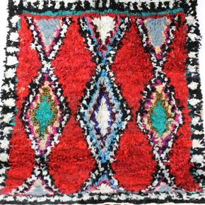 Boucherouite tæppe måler 195x150 cm. Porto koster 120 kr og jeg sender med GLS