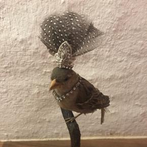 Udstoppet fugl med pynt 22 cm høj