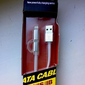 Opladekabel med både iPhone lightning stik og Android micro USB stik i samme kabel. Du får altså et kabel der kan bruges til det meste.   Aldrig brugt.