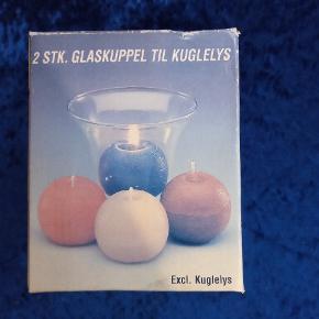 Glaskuppel til kuglelys. 2 stk pr. Kasse. Flere kasser haves