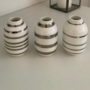 Kähler vaser med sølv striber 3 stk - små