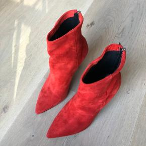 ASOS red suede boots with pointed toe. Only worn once indoors for a short time, so they are like new. Heel height 8.5cm